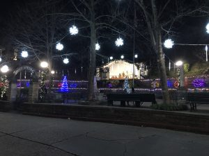 Basin Spring Park in Eureka Springs decorated for the Christmas holiday