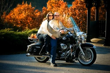 Eureka Springs man and woman on motorcycle
