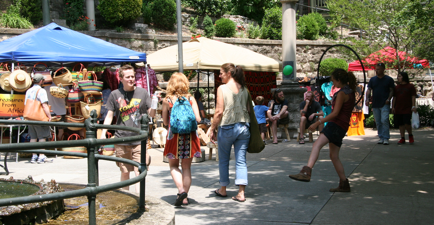 Eureka Springs Craft Show crowd of people walking