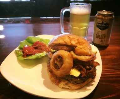 Bombadil's Cafe Eureka Springs burger with onion rings