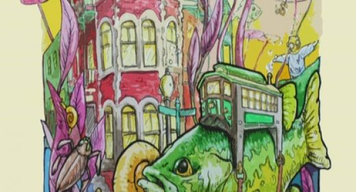 Studio 34 painting of the Flatiron building and 2 fish, trolly and jesus statue