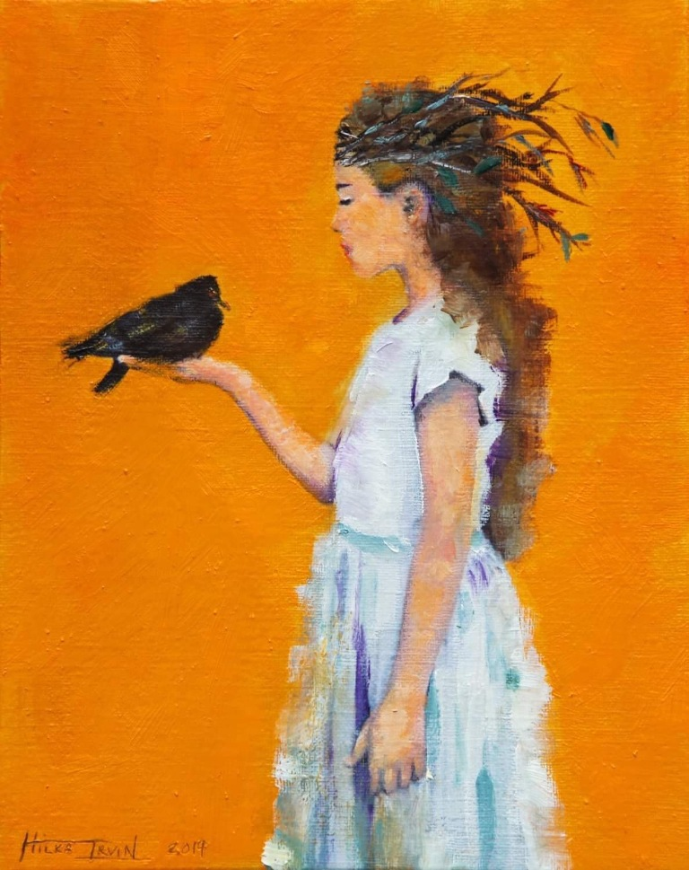 Studio 34 painting of a young girl holding a black bird