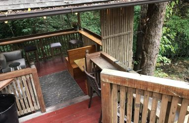 Creekside Cafe steps to outside seating image