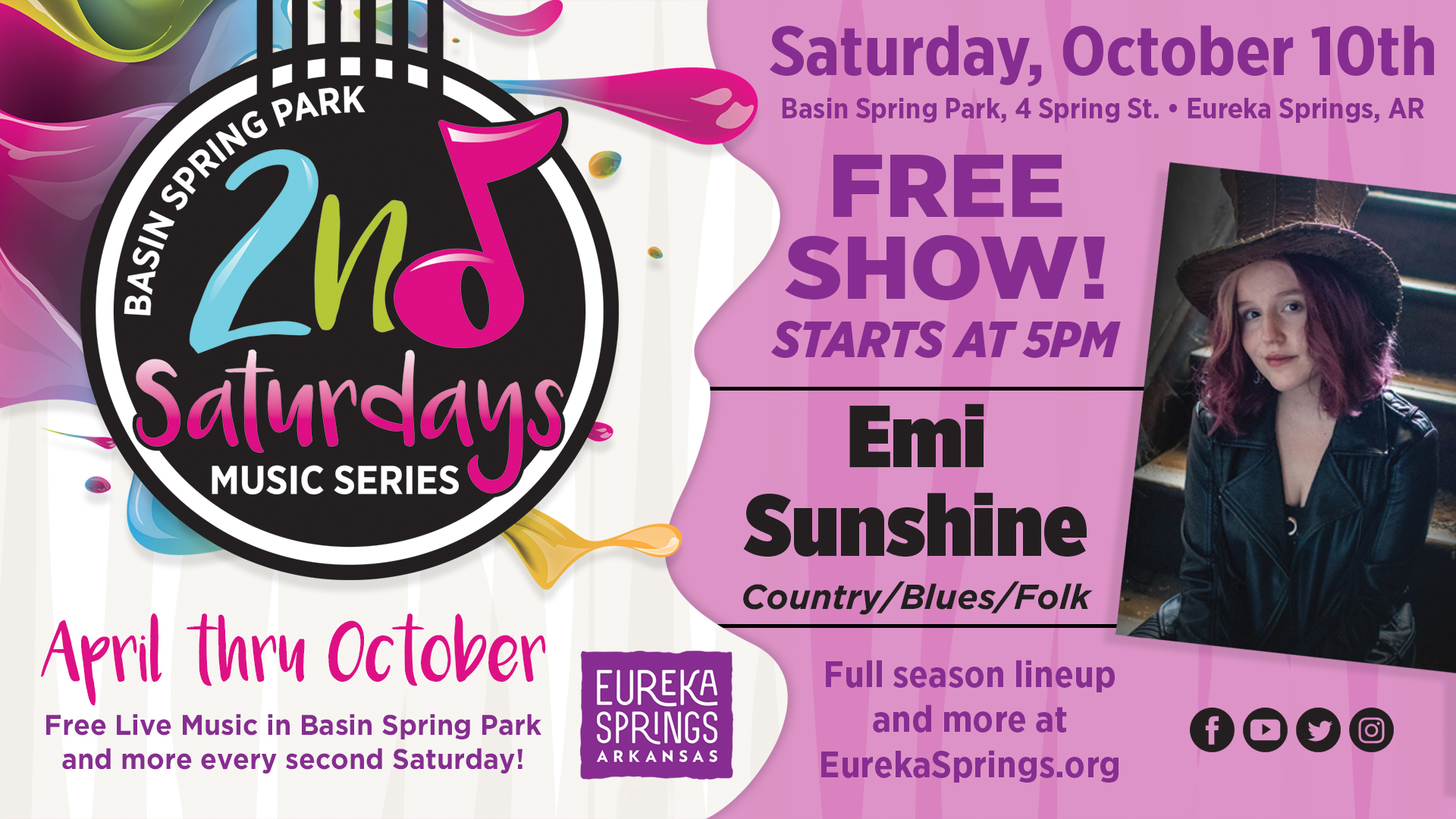 Second Saturday Music in Eureka springs with Emi Sunshine